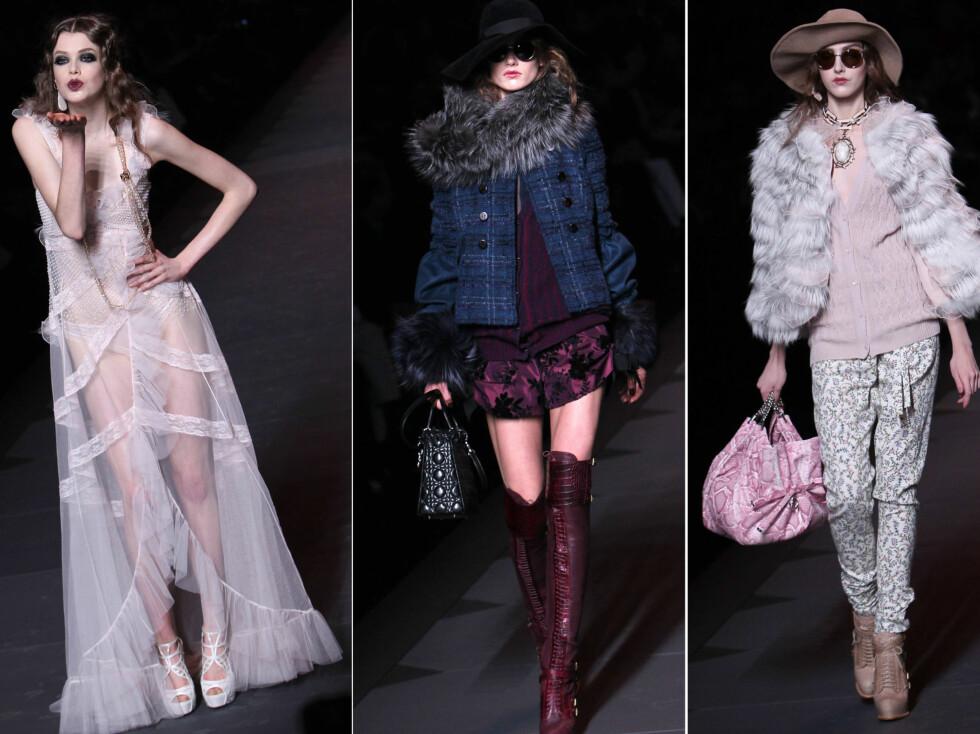 <strong>GALLIANOS SISTE KOLLEKSJON FOR DIOR:</strong> For høsten og vinteren 2011/2012, viste designeren ruter, pasteller og gjennomsiktige vintageinspirerte kjoler. Foto: All Over Press