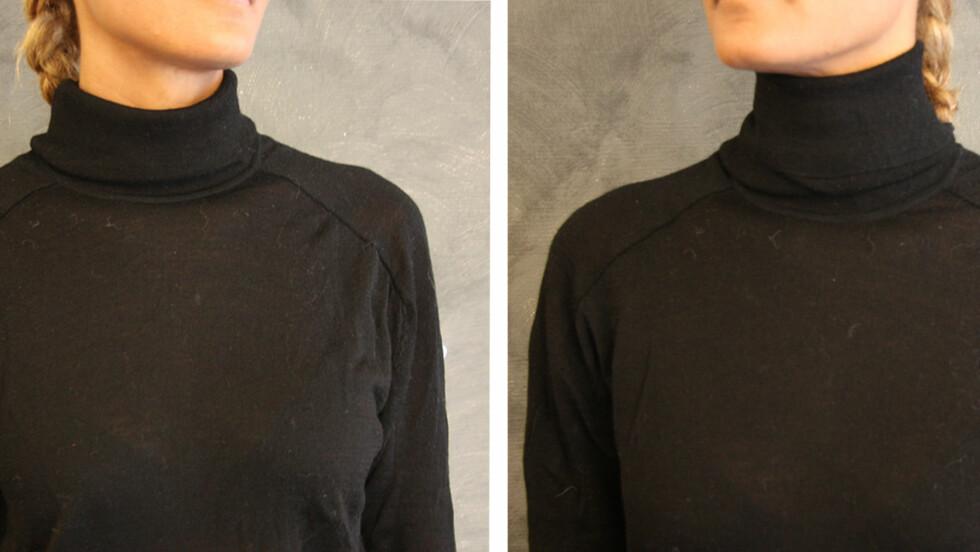BRETT HALSKRAGEN RIKTIG: Vær obs på hvordan du bretter kragen på halsen. Havner bretten midt på, deler du halsen i to og den vil se kortere ut. Foto: Stine Therese Strand/KK