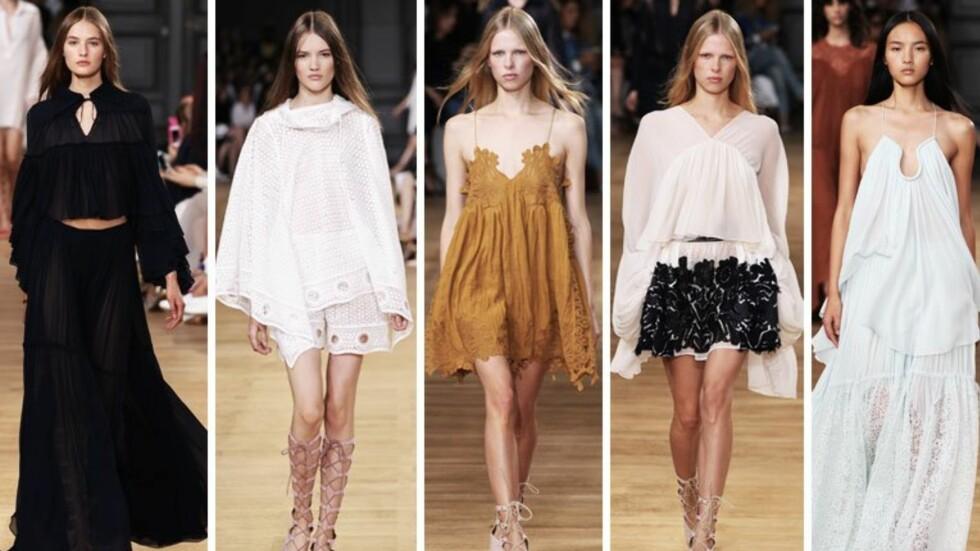 VÅREN 2015: Chloé er kjent for sin romantiske og feminine stil, og kolleksjonen for SS15 var intet unntak  Foto: All Over Press/Collage: Stella Vaage/Stylemag.no