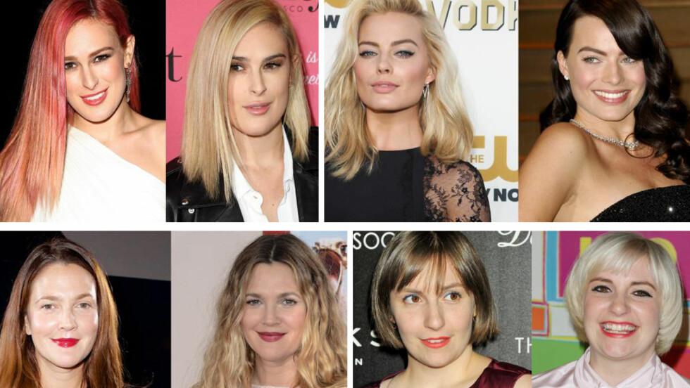 FRISYRERFORVANDLING I HOLLYWOOD: Kjendiskvinner som Rumer Willis, Margot Robbie, Drew Barrymore og Lena Dunham har alle gjennomgått drastiske hårforvandlinger det siste året.  Foto: All Over Press