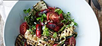 Salat à la ratatouille med chorizo og korn