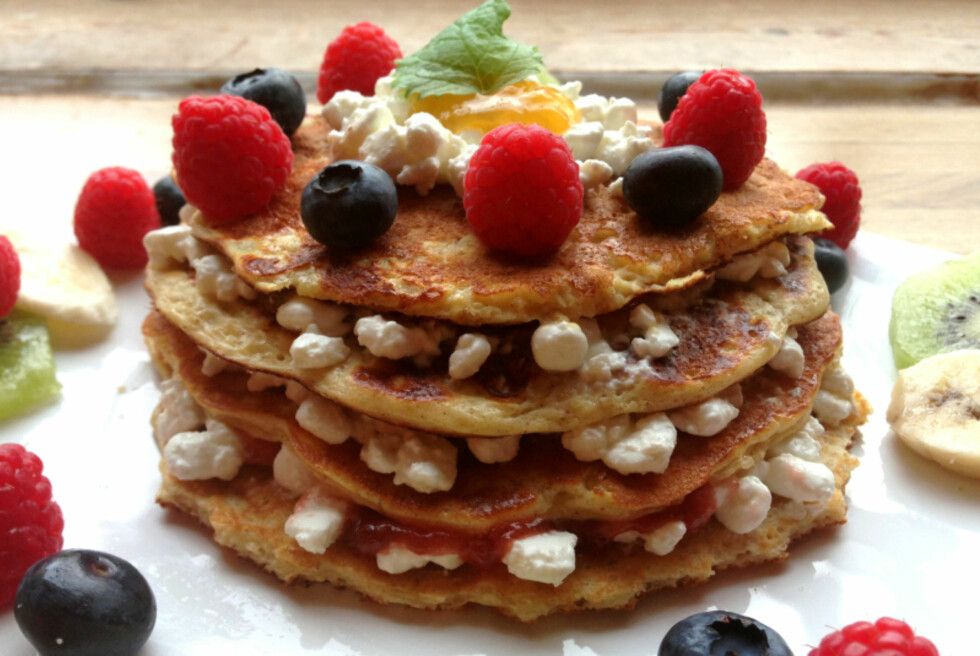 MASSE NÆRING: Joda, pannekaker kan være kjempesunt. I hvert fall hvis du følger oppskriften til Stuhaug. Foto: Linda Marie Stuhaug