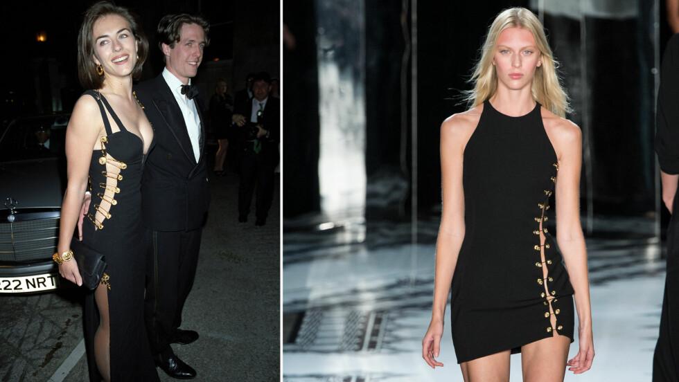 I VERSACE: Her er kjolen som Liz Hurley ble berømt for i 1994, og nå er den tilbake - som minikjole. Den italienske designeren Donatella Versace har klippet av noe av stoffet.  Foto: All Over Press