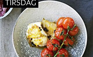 Stekte breiflabbkjaker med hurtigsyltede tomater