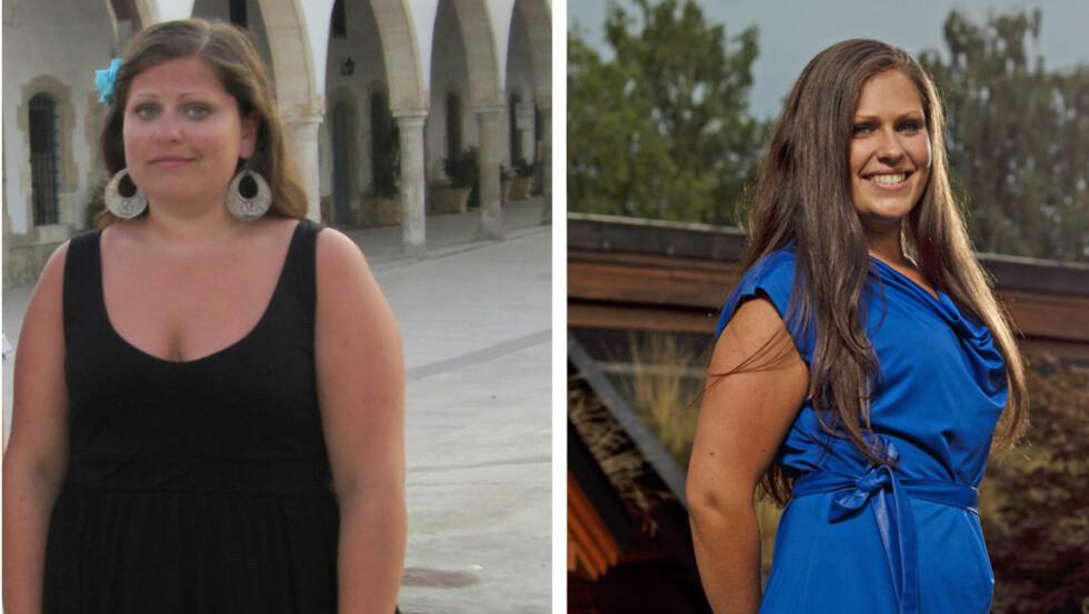 FØR OG ETTER: Inger Kristin har slanket seg 33 kilo og har endelig fått et sunt og normalt forhold til mat.  Foto: Privat og Grete Roede