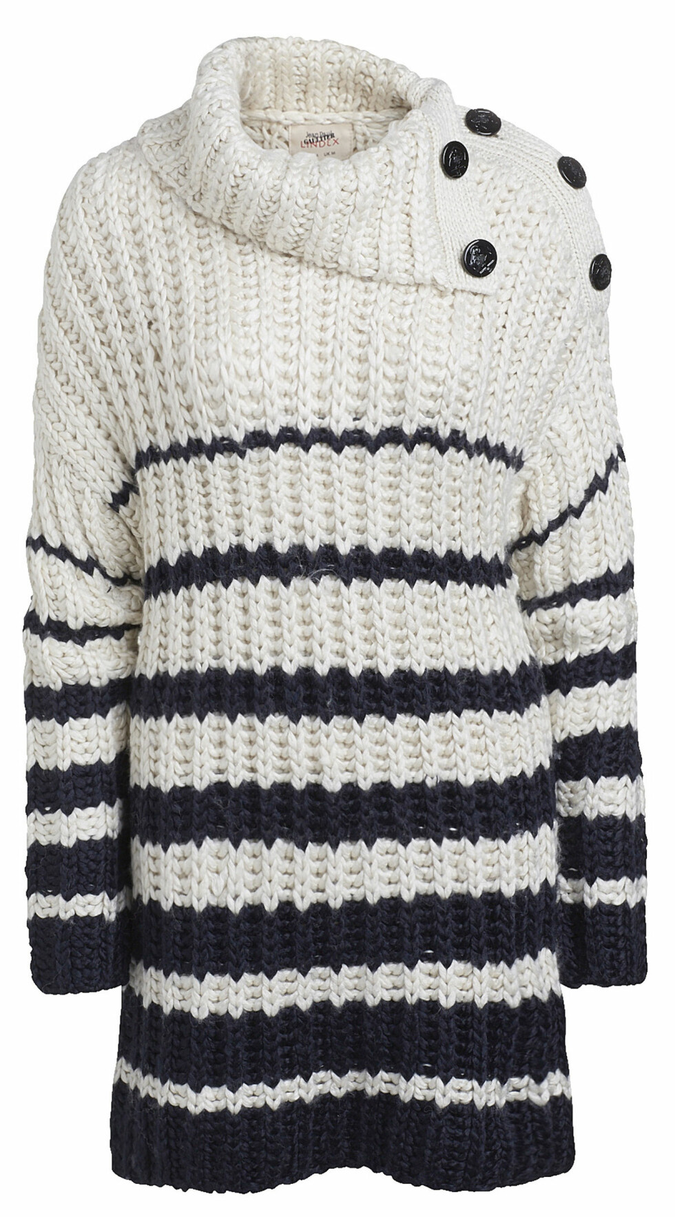 Jean Paul Gaultier for Lindex - Autumn 2014  Sweater / Composition: 80% acrylic,20% wool / Sizes: XS - L  Prices:  SE 599   NO 599   FI 59.95   EE 59.95   LV 59.95   LT 199   CZ 1499   SK 59.95   PL 229   RU 2999   BA 119.95   IS 11995   HR 459   Sales start: 2014-10-08
