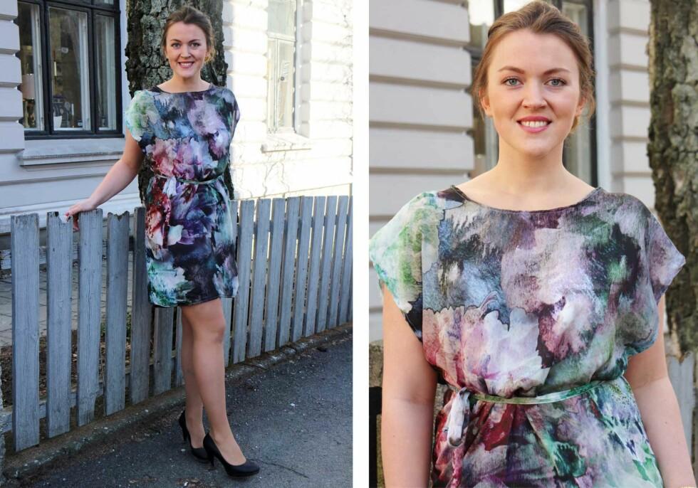 PÅ SARA: Sara brukte satengstoff for å sy den korte varianten av kjolen - som er pefekt på sommerfest, eller kan brukes som lang topp over en skinnbukse.  Foto: sydetselv.blogg.no