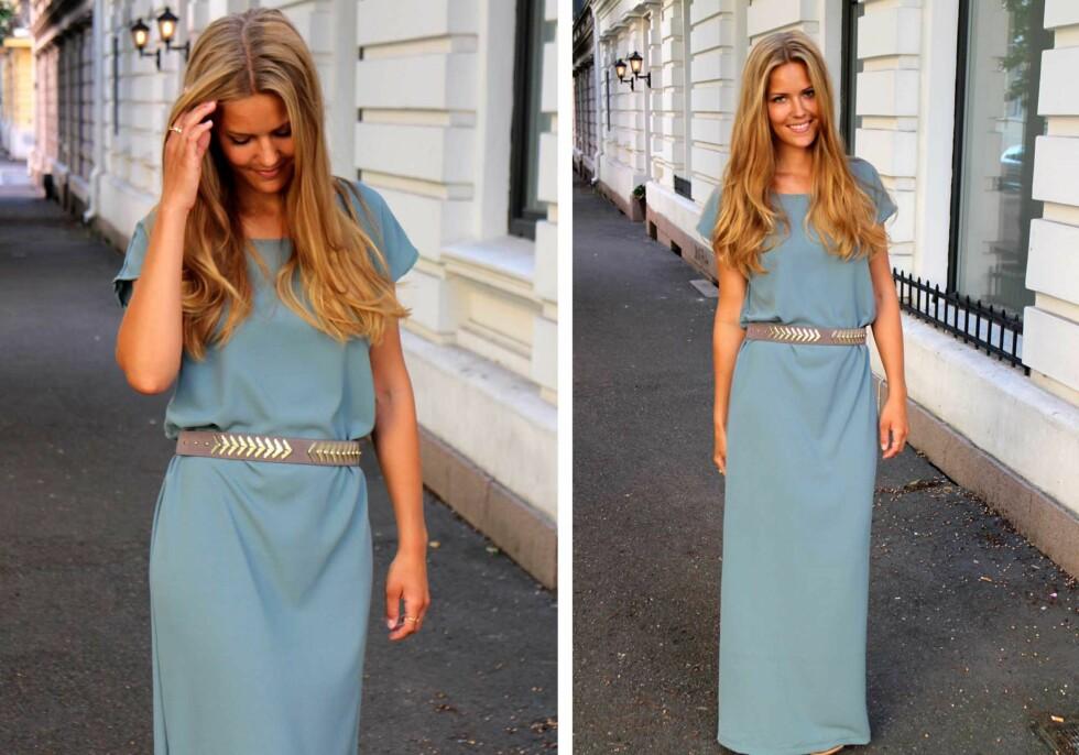 KREPP: Kristin brukte krepp georgette, som er et polyesterstoff med litt elastisitet, for å sy sin lengre utgave av kjolen.  Foto: sydetselv.blogg.no
