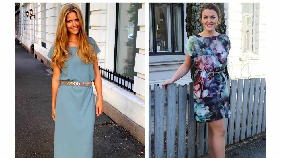 SYR EGNE KLÆR: Kristin Tyvoll (24) og Sara Feragen (24) har startet sin egen syblogg. Her har de på seg to selvsydde kjoler, som du også kan lage! Oppskriften finner du lenger ned i artikkelen. Foto: sydetselv.blogg.no