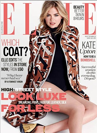 <strong>FORSIDEPIKE:</strong> Kate Upton er på coveret av september-utgaven av Elle UK. Foto: Faksimile Elle UK