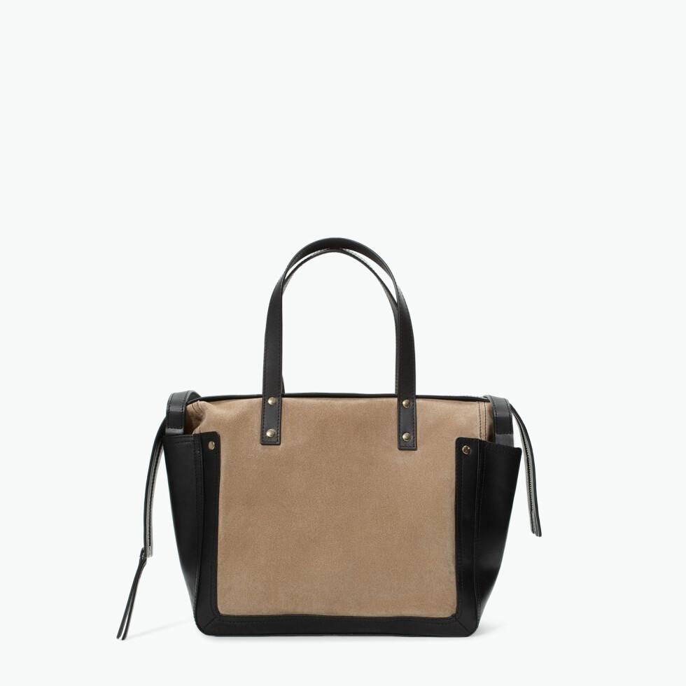 Shopper i brunt og svart (kr 959, Zara). Foto: Produsent