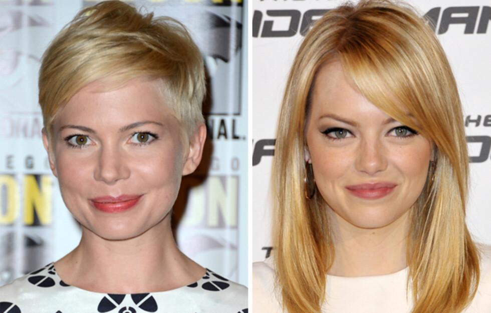 <strong>BLONDINER:</strong> Blondt hår krever en del pleie, så sørg for å beskytte det mot sol, saltvann og klorin. Da kan du bevare den lekre fargen gjennom heller sommeren, slik Michelle Williams og Emma Stone gjør. Foto: All Over Press