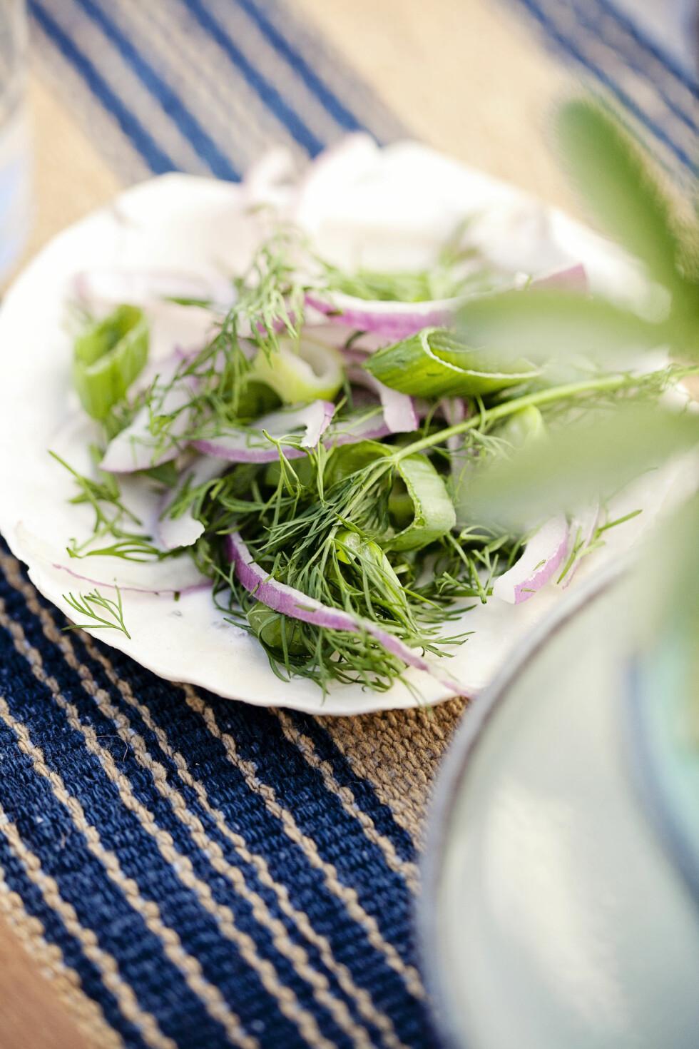 SUPERENKEL SALAT: Denne løksalaten smaker fantastisk sammen med skalldyr! Foto: Jorunn Tharaldsen
