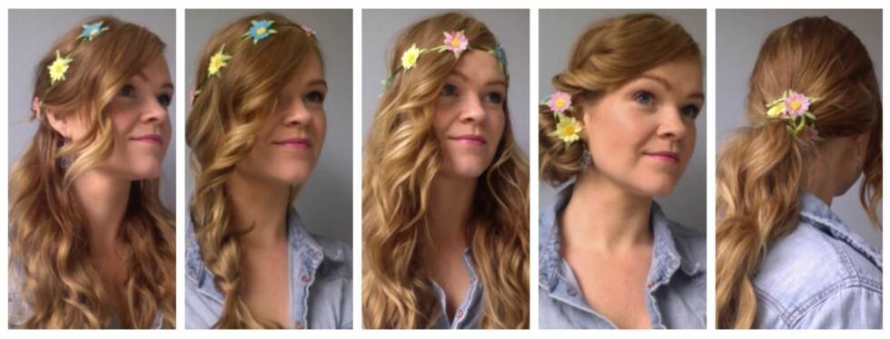 BLOMSTERBÅND: Du kan pynte opp enhver frisyre, uansett hårlengde, med en blomsterkrans eller et blomsterhårbånd. For ekstra en fin festfrisyre, kan du selvsagt lage en blomsterkrans av ekte blomster også. Foto: Aina Kristiansen