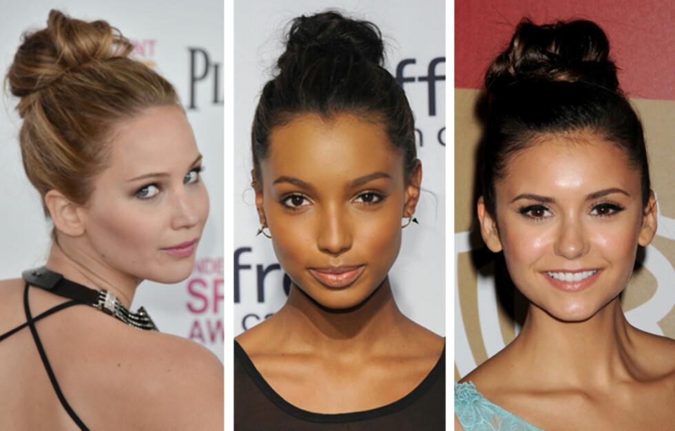 LEKKERT: Jennifer Lawrence, Jasmine Tookes og Nina Dobrev demonstrerer hvor vakkert og enkelt en litt rufsete hårtopp kan være. Foto: All Over Press