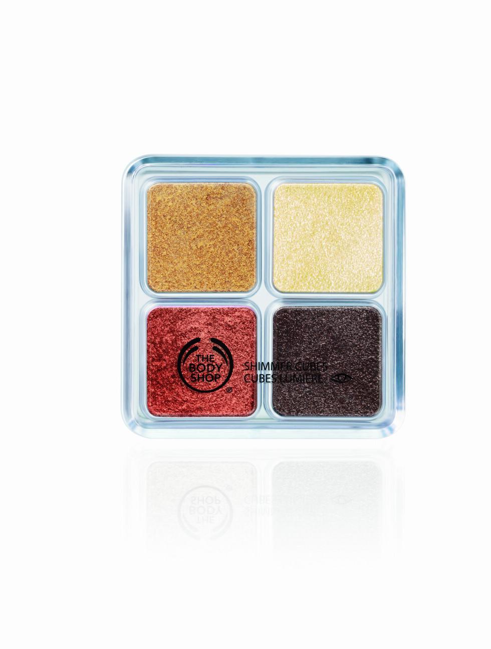 Shimmer Cubes-skygger i gylne toner fra The Body Shop, kr 259. Foto: Produsenten