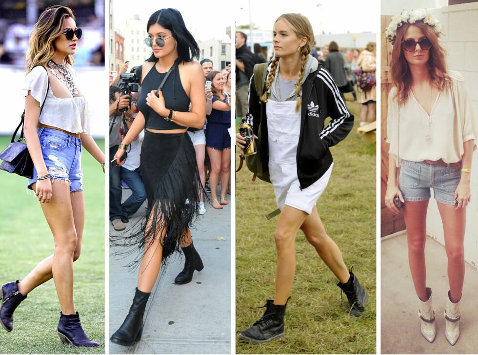 LA DEG INSPIRERE: Fra venstre - Shay Mitchell, Kylie Jenner, Cressida Bonas og Millie Mackintosh.  Foto: All Over Press
