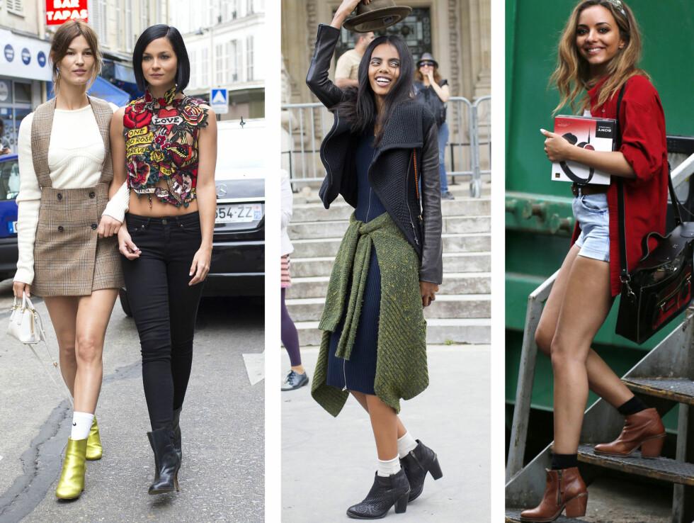KJØR PÅ MED SOKKER: Gjør som Hanneli og ha sokker i støvlettene med bare bein. I midten Grace Mahary og til høyre - Jade Thirlwall. Foto: All Over Press