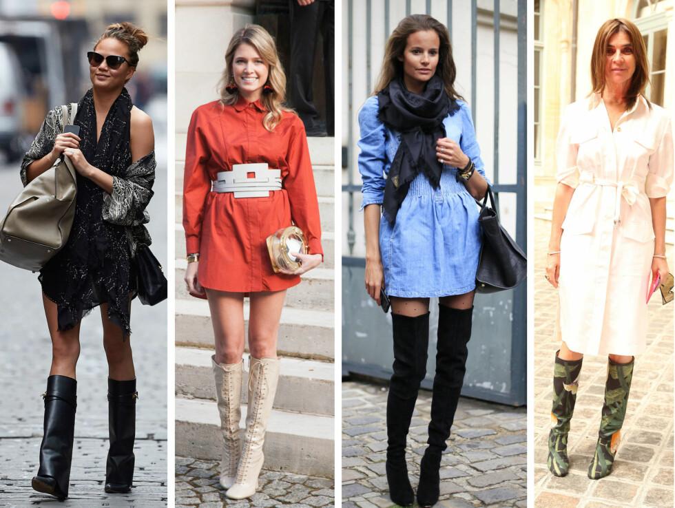 SEXY LÅRHØYT: Lårhøye støvletter gir en supersexy look. Her ser du blant annet Chrissy Teigen, Helena Bordon og Carine Restoin-Roitfeld.  Foto: All Over Press