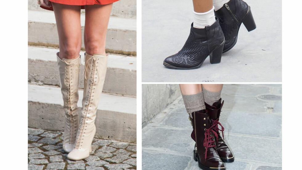 STØVLETTER I SOMMER: Joda, det er bare å dra frem støvlettene igjen - og gjerne med sokker og bare bein! Foto: All Over Press