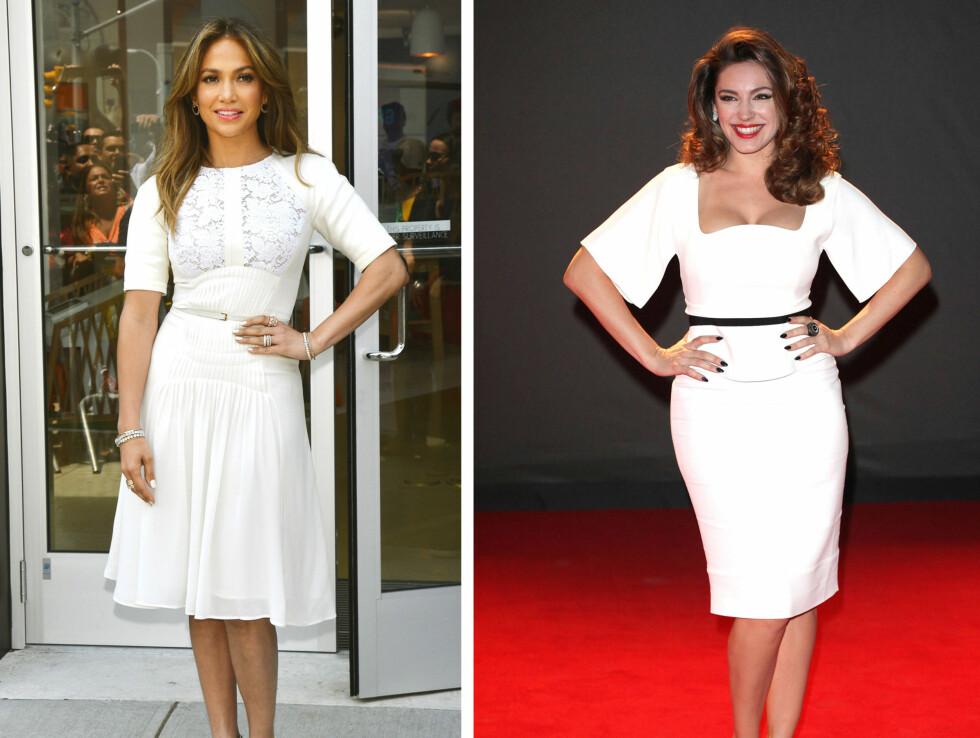 <strong>GJØR SOM STJERNENE:</strong> Jennifer Lopez og Kelly Brooke er to formfulle superstjerner som vet å benytte seg av beltetrikset for å fremheve midjen og sine feminine kurver.  Foto: All Over Press