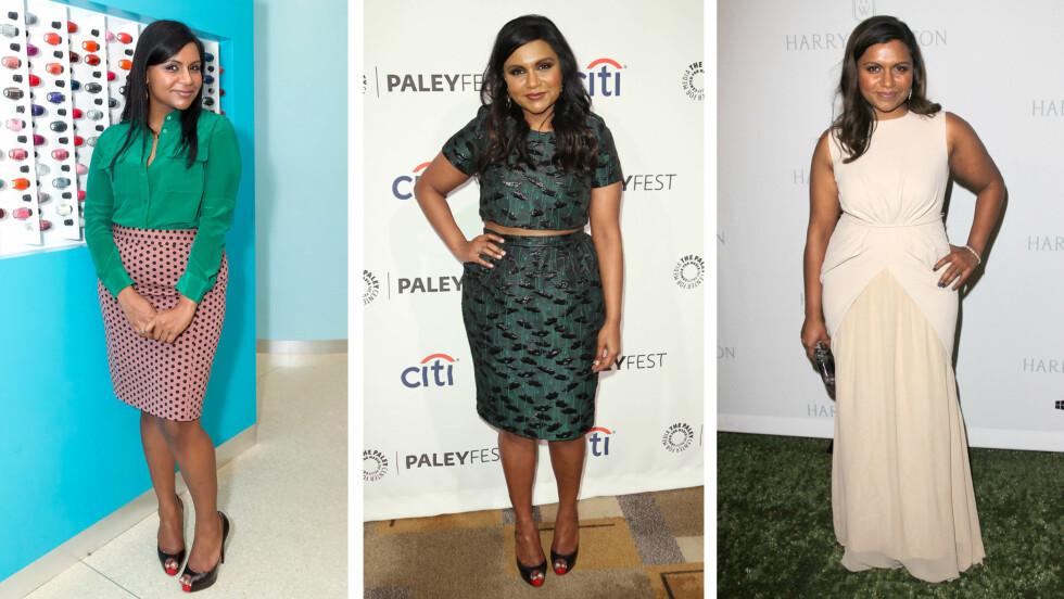 <strong>MINDY KALING:</strong> 35-åringen vet hvordan hun skal kle seg etter kroppen sin og er ikke redd for å bruke farger og mønster. Foto: All Over Press