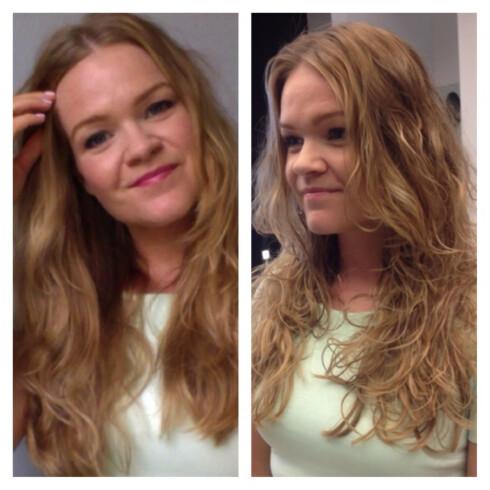 FØR OG ETTER: Her ser du håret mitt før og etter behandlingen. Håret på før-bildet har lufttørket uten buk av saltvannsspray, men er ikke børstet ut, slik som på etter-bildet lenger ned i saken. Foto: Aina Kristiansen