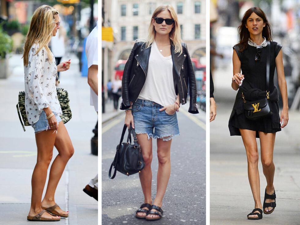 PÅ STJERNENE: Supermodell Heidi Klum, streetstyleblogger Lucy og stilikonet Alexa Chung sverger alle til de originale Birkenstock-sandalene. Foto: All Over Press