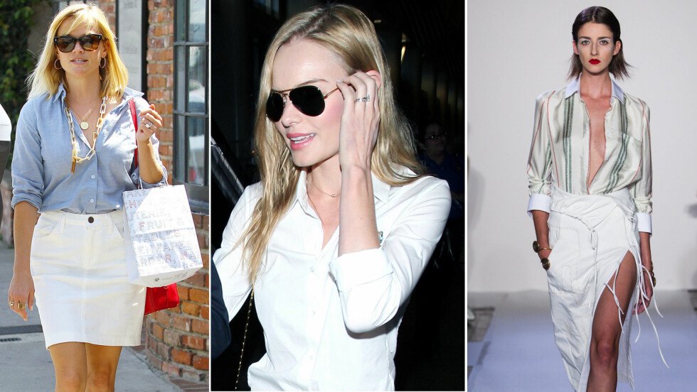 <strong>RULL OPP ERMENE, KNEPP LITT OPP OG BRUK SMYKKER:</strong> Gjør som skuespiller Kate Bosworth og Reese Witherspoon, og brett opp ermene på skjorta - superenkelt triks som gjør at den føles oppdatert. Legg også merke til gullsmykkene! Og hos designer Altuzarra skal skjorten kneppes helt opp. Foto: All Over Press