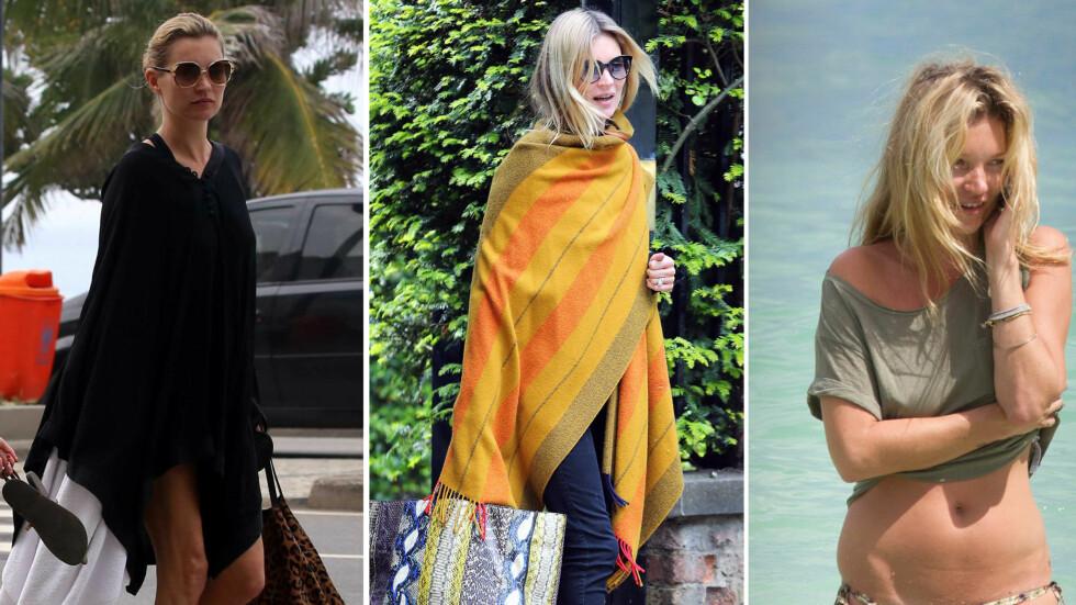 <strong>BOHEMSK CHIC:</strong> Kate Moss ser alltid like kul ut, enten hun har på seg tresko og sjal, eller vandrer rundt på stranden. Foto: All Over Press