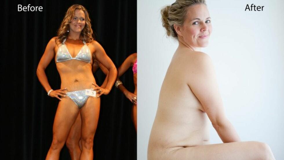 VÆR FORNØYD MED DEG SELV: Taryn Brumfitt trente beinhardt for å delta i en bodybuilding-konkurranse kort tid etter at hun hadde født. Hun fant imidlertid ut at det ikke var verdt alt hun måtte ofre - spesielt i forhold til familien, og bestemte seg for å være fornøyd med seg selv.  Foto: Andre Agnew/Privat
