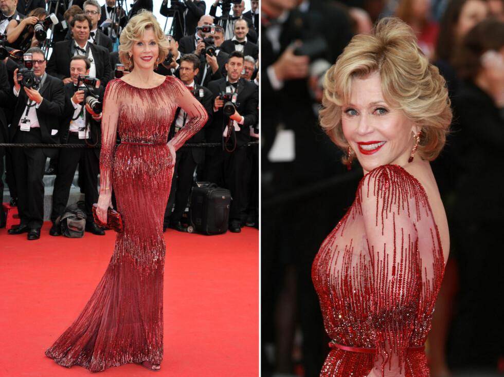 JANE FONDA: 76-åringen strålte i kjole fra Elie Saab under filmfestivalen i Cannes. Kjolen fremhever Fondas flotte figur og er akkurat passe sexy og tekkelig på én gang. Foto: All Over Press