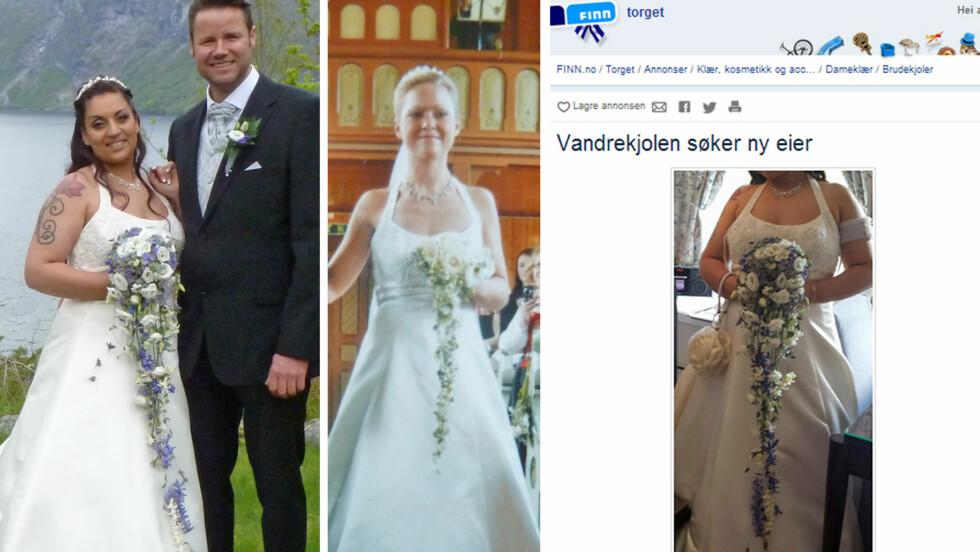 VANDREKJOLEN: Heidi (i midten) var første eier av brudekjolen, før den ble gitt videre til Anita (til venstre) via Finn.no. Nå gir Anita den videre.  Foto: Privat/Faksimile Finn.no