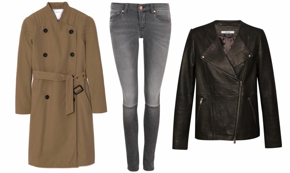 GENIALE BASISPLAGG: Klassisk trenchcoat (kr 3895, Surface to Air), lysegrå jeans (kr 800, Never Denim) og skinnjakke (kr 4000, Epilogue). Styling: Tuva Wærdahl. Foto: Produsenter