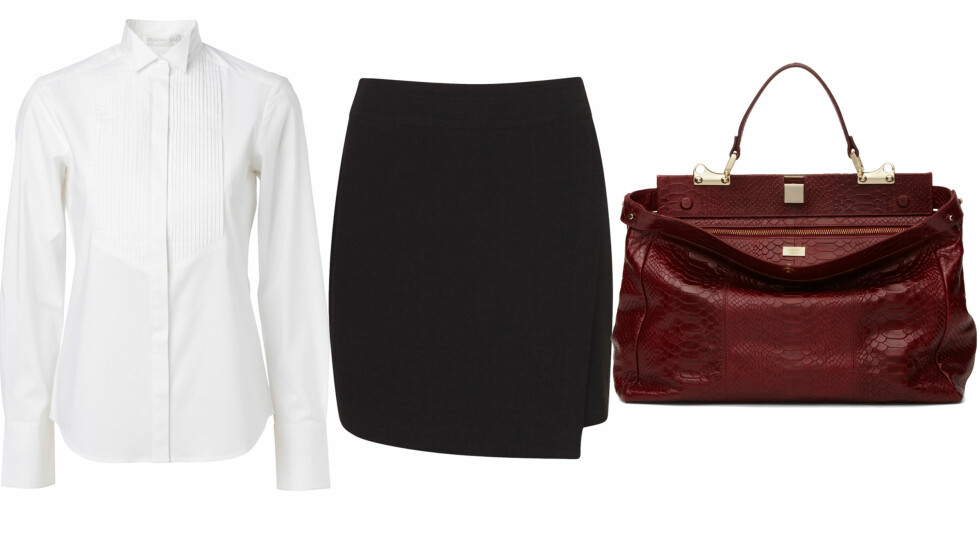 PYNTET OG PEN PÅ KONTORET: Hvit klassisk skjorte (kr 500, MQ), svart skjørt (kr 300, Cubus) og rød veske (kr 3500, Adax). Foto: Produsenter