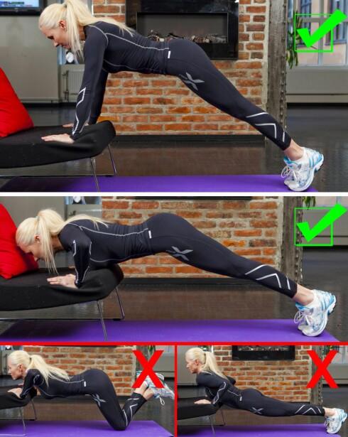 PUSH UPS: Bruk sofaen som verktøy når du gjør push-ups. Det vil gjøre øvelsen litt enklere til å begynne med. Gjør mellom 10-12 push-ups av gangen, gjenta tre ganger. Vær obs på at du ikke svaier i ryggen eller stikker rumpa for langt ut.  Foto: Per Ervland