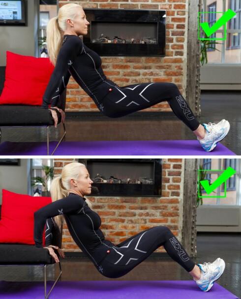 TRICEPS: Denne øvelsen er svært god for å trene triceps og kan enkelt kombineres med tv-titting eller matlaging. Alt du trenger er en stabil sofa eller stol og din egen kroppsvekt.  Foto: Per Ervland