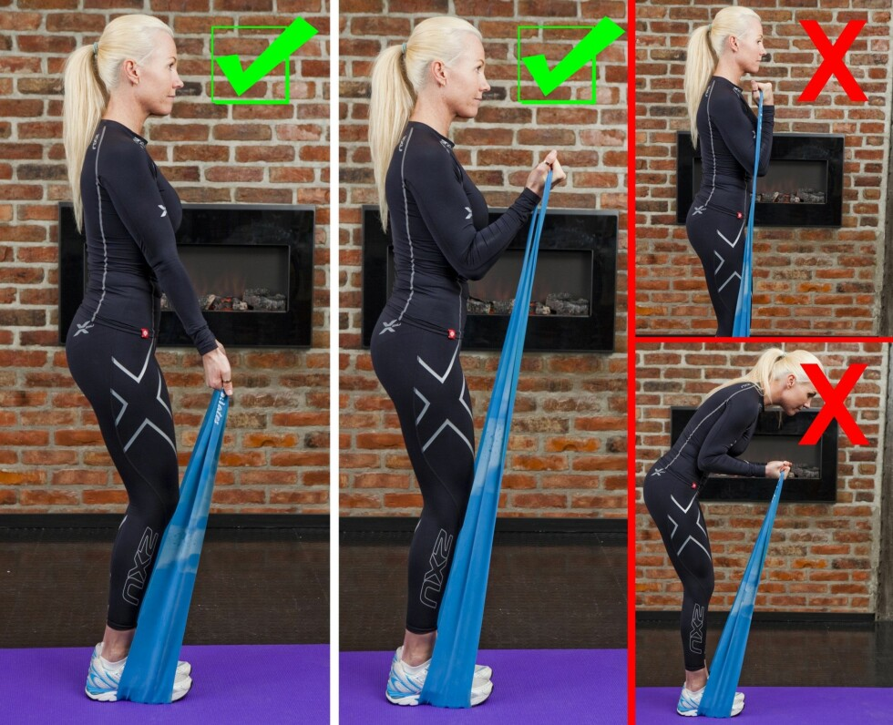 BICEPS MED STRIKK: Sørg for at du holder albuene tett inntil kroppen når du gjør denne øvelsen.  Foto: Per Ervland