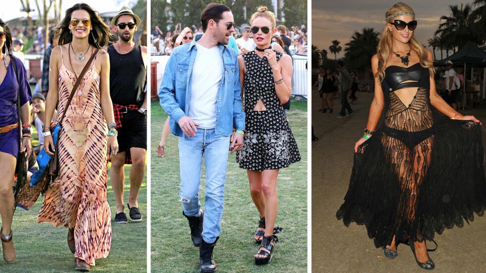 COACHELLA 2014: Alessandra Ambrosio og Kate Bosworth fikset festivalstilen lett som bare det, mens Paris Hilton gikk på en bom med sitt dristige antrekk. Foto: All Over Press