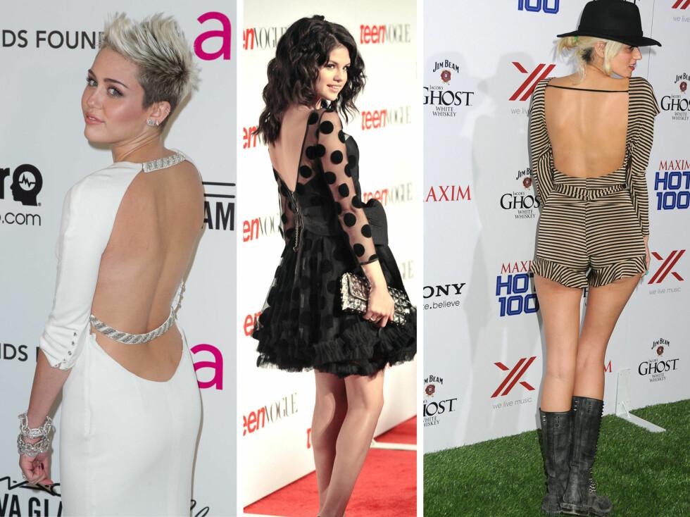 BAR RYGG: Flere store stjerner har slengt seg på trenden med bar rygg den siste tiden, deriblant Miley Cyrus og Selena Gomez.  Foto: All Over Press