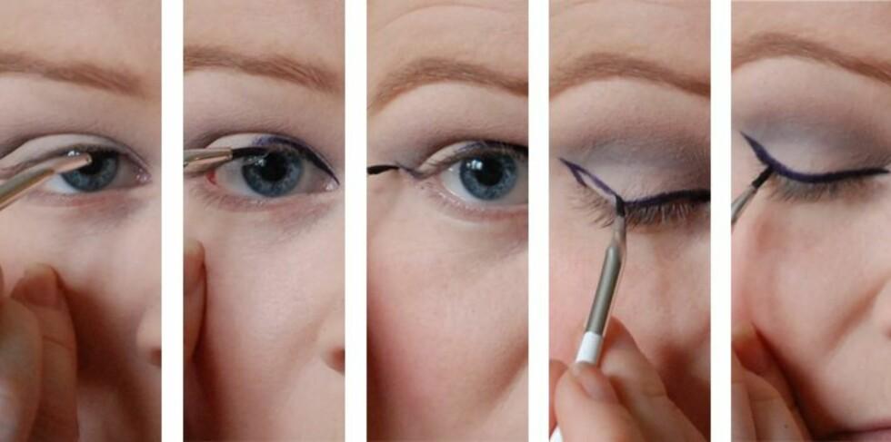<strong>PERFEKT LINER:</strong> Lærer du deg denne teknikken, blir eyelineren perfekt hver gang.  Foto: Aina Kristiansen