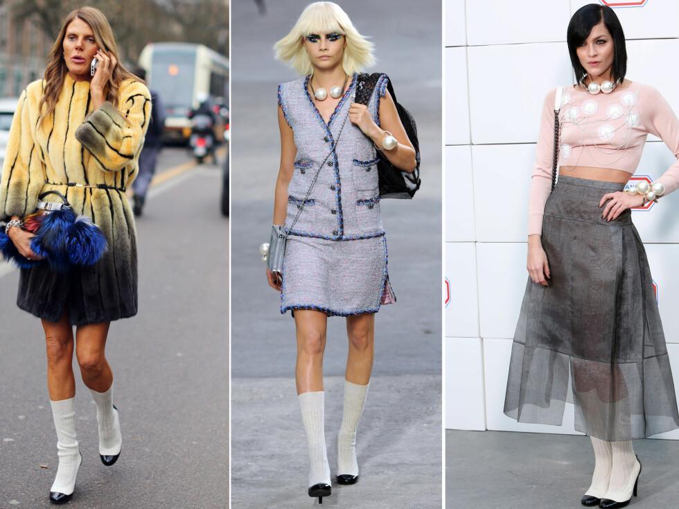 <strong>LEKEN STIL:</strong> Moteredaktør Anna della Russo og Leigh Lezark lar seg begge inspirere av Chanels vri på strømpene denne våren. Foto: All Over Press