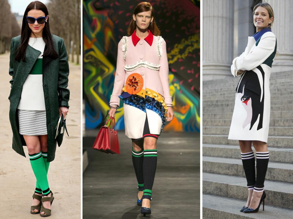 <strong>SPORTY TVIST:</strong> Prada er en av flere designere som går for en sporty vri på sokkene denne våren. Finnes i mange ulike farger - og alle kommer med fartsstripegaranti. Foto: All Over Press