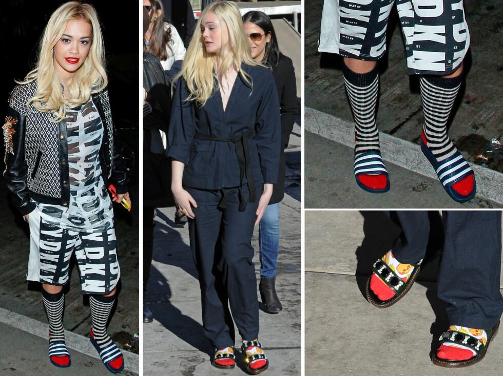 <strong>SVETT MOTE:</strong> Rita Ora har tatt fram Adidas-sandalene, og Elle Fanning styler sine med sokker i muntre farger.