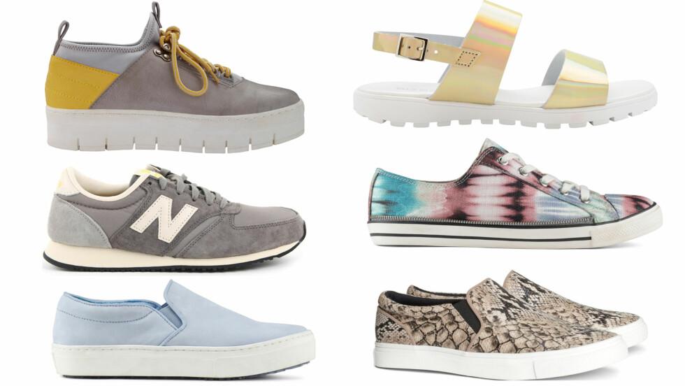 SKO MED KOMFORT I FOKUS - EN DRØM FOR FØTTENE: Og skoene passer perfekt til et ellers feminint antrekk. Øverst til venstre med tjukk såle (kr 700) og gyllen sandal (kr 500, begge fra Bianco), i it.fargen grått (kr 800, New Balance), tie-die-farget (kr 450) og i lyseblått (kr 500, begge fra Aldo) og mønstret (kr 350, H&M). Foto: Produsenter