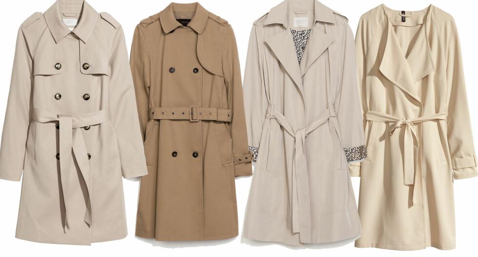 KORTE MODELLER: I klassisk stil (kr 600, H&M), sandfarget (kr 1000) og med store slag (kr 700, begge fra Zara) og lys løs modell til en herlig pris (kr 350, H&M).