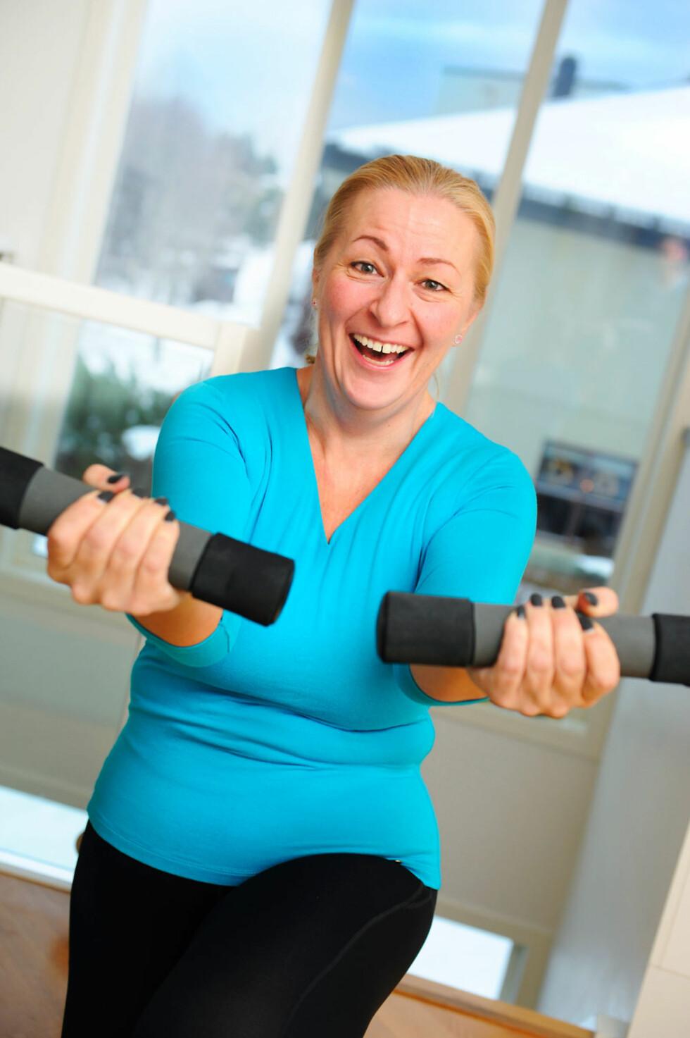 Treningsglede: Heidi trener fem dager i uken, men ikke like intensivt hver gang. -Trener du kun hardt, mister du overskuddet og blir i tillegg ofte lei før du har kommet ordentlig i gang.