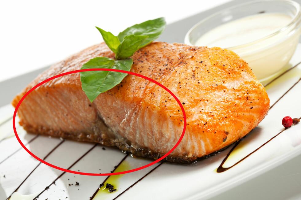 SPIS OPP ALT: Mange pleier blant annet å skjære bort den brune randen på fiskekjøttet, men denne delen er helt ufarlig - faktisk inneholder den mer av en type fettstoff som er bra for deg.  Foto: Boris Ryzhkov - Fotolia