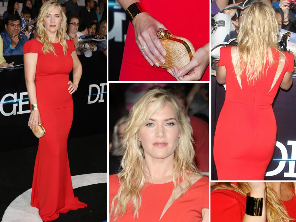 <strong>VAKKER:</strong> Kate Winslet så svært vakker ut på den røde løperen bare tre måneder etter fødselen av hennes tredje sønn.  Foto: All Over Press