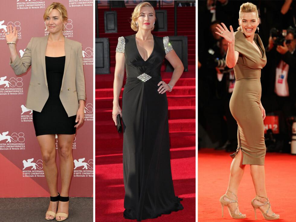 <strong>VAKRE FORMER:</strong> Kate Winslet tar ofte pusten fra publikum når hun setter foten på den røde løperen.